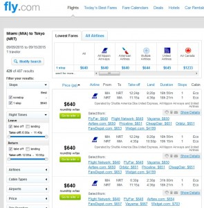 Miami to Tokyo: Fly.com Results