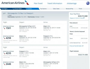 Minneapolis-Freeport: American Booking Page