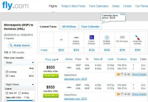 Minneapolis-Honolulu: Fly.com Search Results