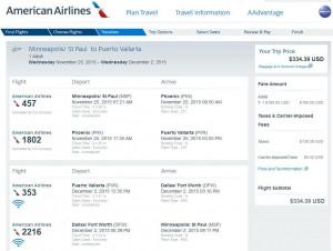 Minneapolis-Puerto Vallarta: American Booking Page