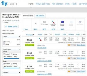 Minneapolis-Puerto Vallarta: Fly.com Search Results