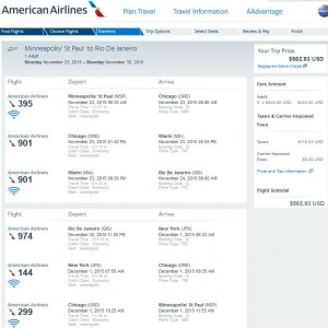 Minneapolis-Rio: American Booking Page