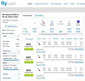 Minneapolis-Rio: Fly.com Search Results