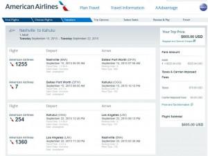 Nashville-Kahului, Maui: American Booking Page