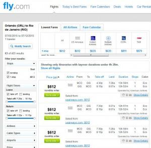 Orlando-Rio de Janeiro: Fly.com Search Results