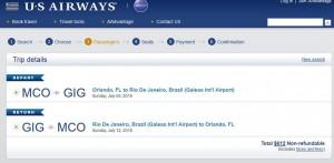 Orlando-Rio de Janeiro: US Airways Booking Page
