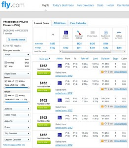 Philadelphia to Phoenix: Fly.com Results
