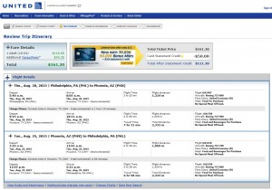 Philadelphia to Phoenix: United Booking Page