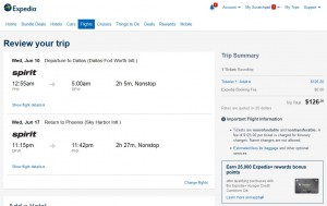 Phoenix to Dallas: Expedia Booking Page