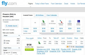 Phoenix to Houston: Fly.com Results