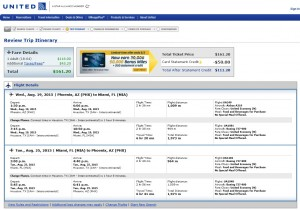 Phoenix to Miami: United Booking Page