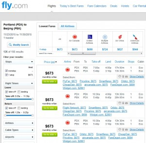 Portland to Beijing, China: Fly.com Results