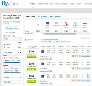 Portland to Cabo: Fly.com Results