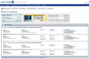 Portland to Cabo: United Booking Page