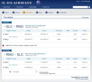 Salt Lake City to Reno: US Airways Booking Page