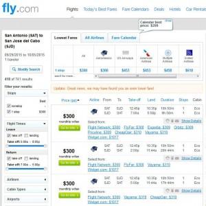 San Antonio-Los Cabos: Fly.com Search Results