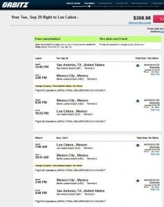 San Antonio-Los Cabos: Orbitz Booking Page