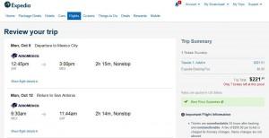 San Antonio-Mexico City: Expedia Booking Page
