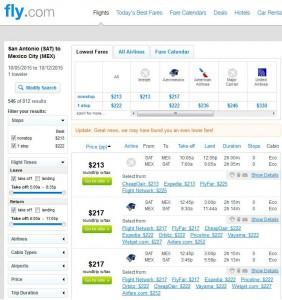 San Antonio-Mexico City: Fly.com Search Results