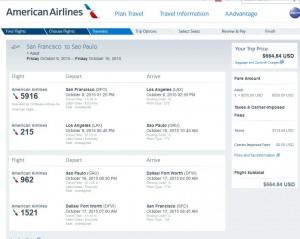 San Francisco-Sao Paulo: American Booking Page