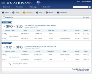 San Francisco to Los Cabos: US Air Booking Page