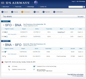 San Francisco to Nashville: US Air Booking Page