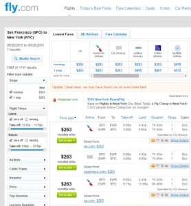 San Francisco to NYC: Fly.com Results
