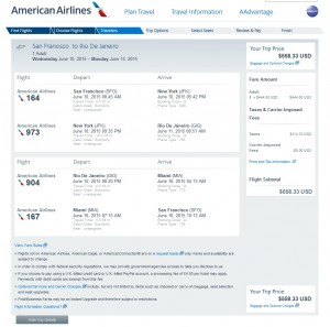 San Francisco to Rio de Janeiro: American Airlines Booking Page