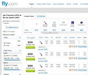 San Francisco to Rio de Janeiro: American Airlines Fly.com Results