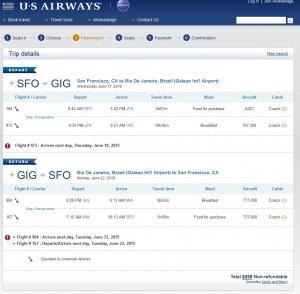 San Francisco to Rio de Janeiro: US Airways Booking Page