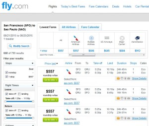 San Francisco to Sao Paulo: Fly.com Results