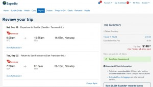 San Francisco to Seattle: Expedia Booking Page