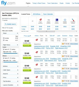 San Francisco to Seattle: Fly.com Results