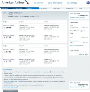 Seattle to Cancun: AA Booking Page