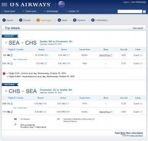 Seattle to Charleston: US Airways Booking Page