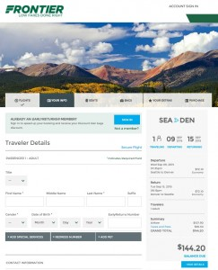 Seattle to Denver: Frontier Booking Page
