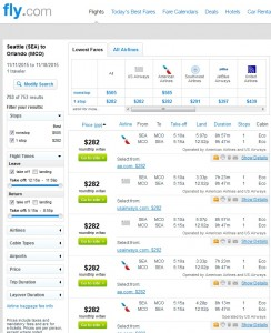 Seattle to Orlando: Fly.com Results