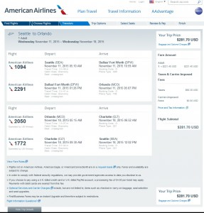 Seattle to Orlando: AA Booking Page
