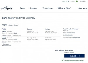 Seattle to San Diego: Alaska Air Booking Page