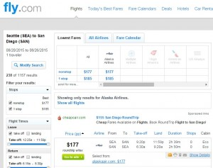 Seattle to San Diego: Fly.com Results