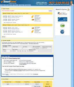 Newark to Lisbon, Portugal: SmartFares Booking  Page