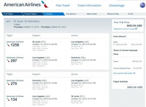 St Louis-Honolulu: American Booking Page