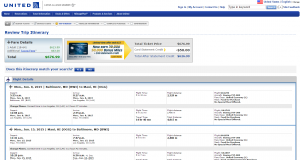 D.C. to Maui: United Airlines Booking Page