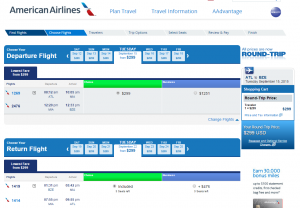 Atlanta to Belize City: American Airlines Booking Page