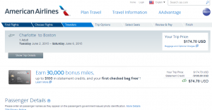 Charlotte to Boston: American Airlines Booking Page