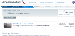 Miami to São Paulo: American Airlines Booking Page