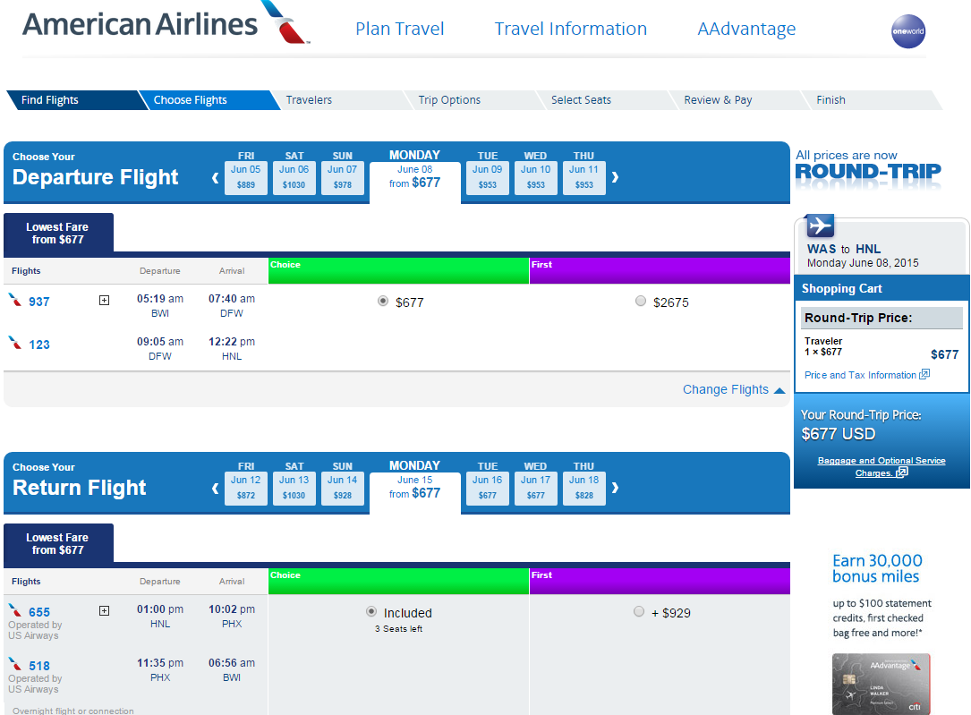 D C To Honolulu American Airlines Booking Page