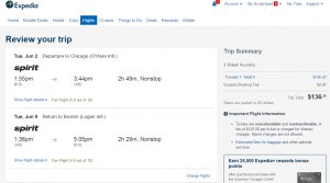 Boston to Chicago: Expedia Booking Page