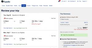 LA to Bangkok: Expedia Booking Page