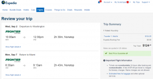 Miami to D.C.: Expedia Booking Page
